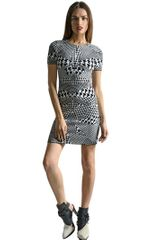 McQ by Alexander McQueen Optical Houndstooth Stretch Knit Dress - Lyst