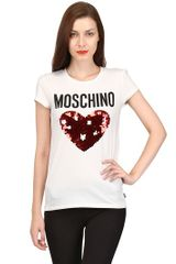 Moschino Underwear Sequin Heart Logo Cotton Jersey Tshirt - Lyst