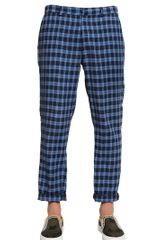 MSGM Checked Print Linen Cotton Trousers - Lyst