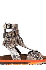 MSGM 20mm Python Embossed Leather Sandals - Lyst