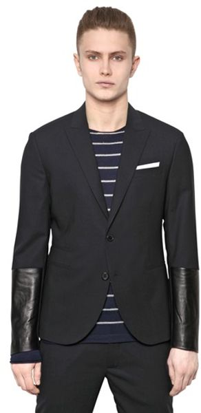 Neil Barrett Wool Canvas and Leather Jacket - Lyst