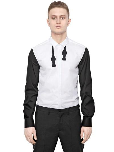 Lyst neil barrett cotton poplin bow tie shirt in black for Neil barrett tuxedo shirt