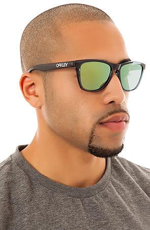 oakley frogskin sunglasses matte  oakley frogskins sunglasses matte black emerald iridium