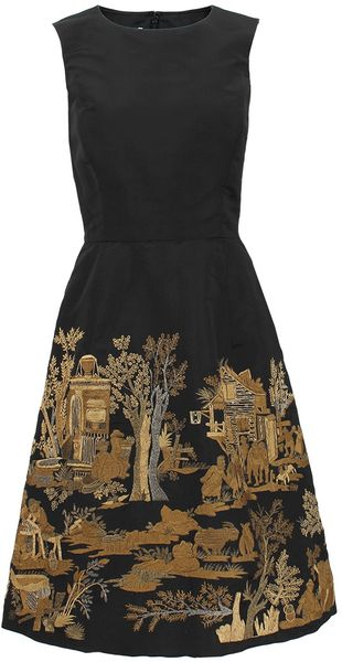 Oscar de la Renta Sleeveless Scenic Embroidered Dress - Lyst