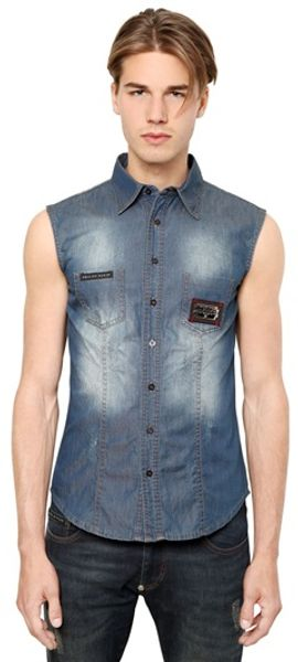 Philipp Plein Sleeveless Cotton Denim Shirt - Lyst