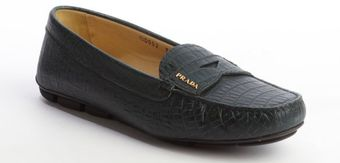 Prada Green Croc Embossed Leather Penny Loafers - Lyst