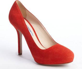Prada Red Suede Hidden Platform Pumps - Lyst
