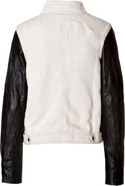 Rag Amp Bone Cotton Linen Leather Moto Jacket In White Lyst
