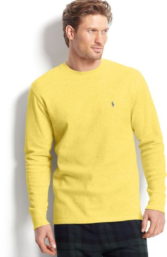 Ralph Lauren Long Sleeve Crew Neck Waffle Thermal Top - Lyst