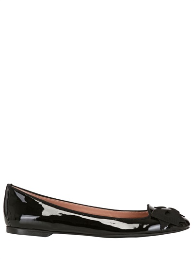 bf6b305fc20b Lyst - RED Valentino Bow Patent Leather Ballerina Flats in Black
