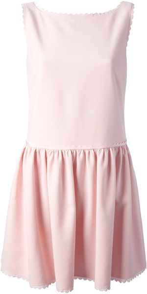 RED Valentino Scalloped Sleeveless Shift Dress - Lyst