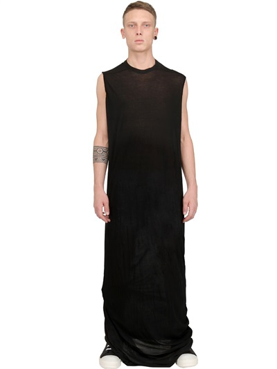 77f67e05ffed Rick Owens Cotton Jersey Extra Long Tshirt in Black for Men - Lyst