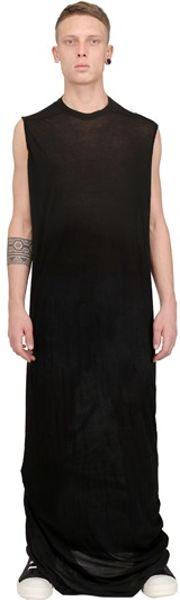 Rick Owens Cotton Jersey Extra Long Tshirt In Black For