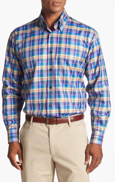 Robert talbott plaid classic fit twill sport shirt in blue for Robert talbott shirts sale