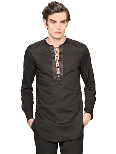 Lyst Roberto Cavalli Cotton Voile Tunic Shirt In Black