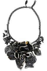 Roberto Cavalli Enamel Flowers Brass Necklace - Lyst
