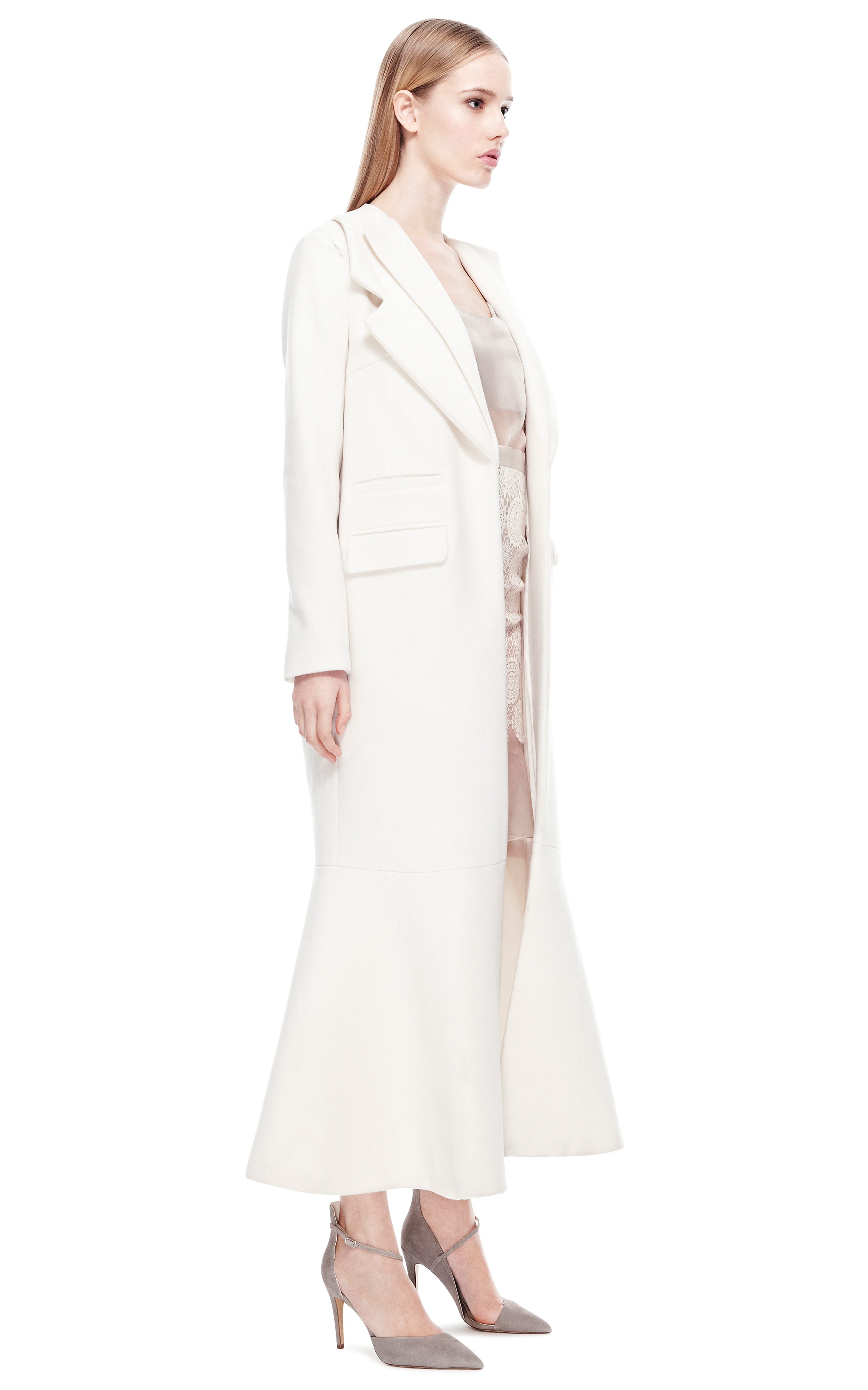 Ruban White Long Coat In White Lyst