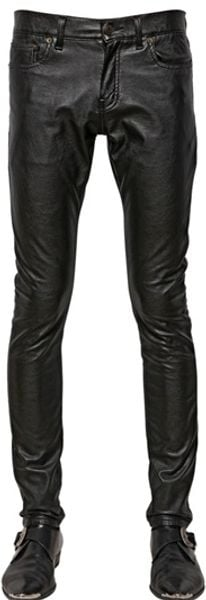 Saint Laurent Skinny Matte Faux Leather Jeans - Lyst