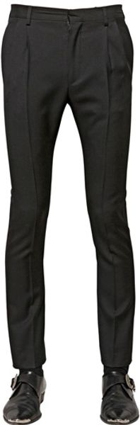Saint Laurent 17cm Light Wool Gabardine Trousers - Lyst