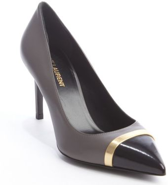 Saint Laurent Earth Leather Gold Strip Pointed Toe Pumps - Lyst