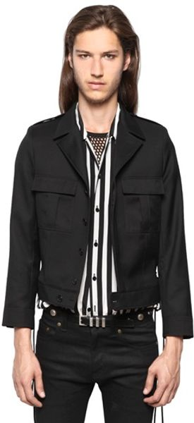 Saint Laurent Light Wool Gabardine Casual Jacket - Lyst