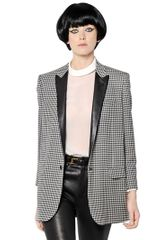 Saint Laurent Houndstooth Leather Boyfriend Jacket - Lyst
