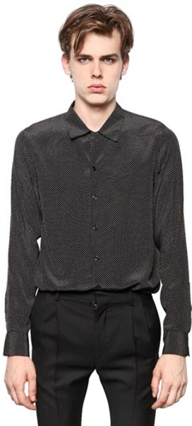 Saint Laurent Polka Dot Silk Shirt - Lyst