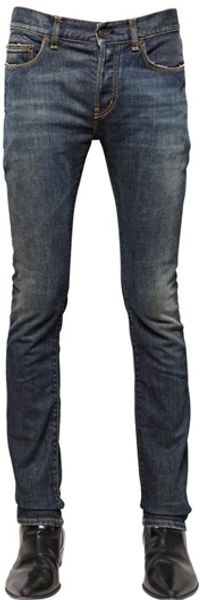 Saint Laurent Skinny Stretch Cotton Denim Jeans - Lyst