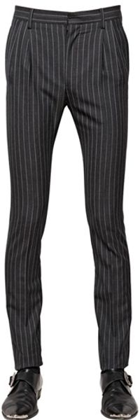 Saint Laurent Pinstripe Cool Wool Trousers - Lyst