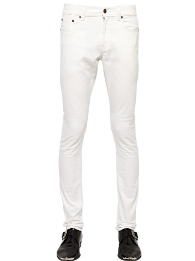 mens white stretch jeans - Jean Yu Beauty
