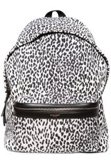 Saint Laurent Leopard Printed Nylon Backpack - Lyst
