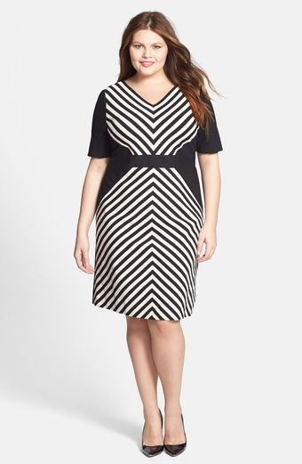 Tahari Mitered Stripe Ponte Sheath Dress - Lyst