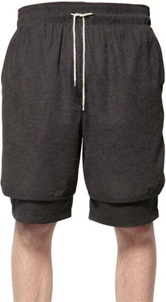 Tom Rebl Layered Matte Techno Satin Shorts - Lyst