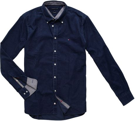 tommy hilfiger big tall corduroy shirt in blue for men