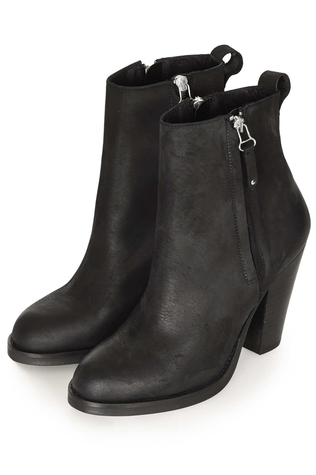 topshop leather heeled boots in black lyst