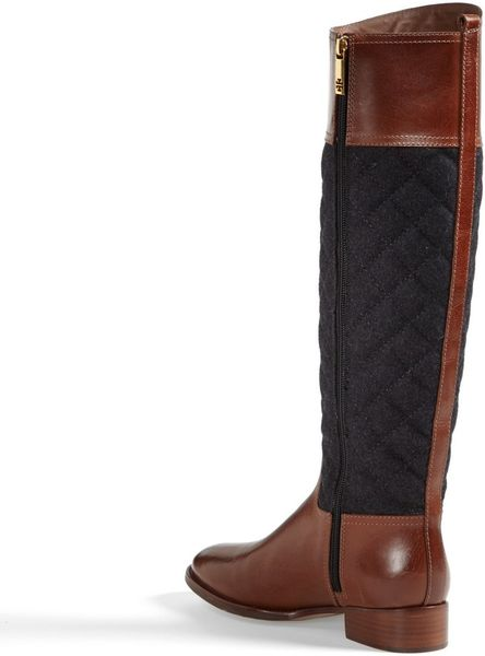 Tory Burch Rosalie Riding Boot In Brown Almond Charcoal