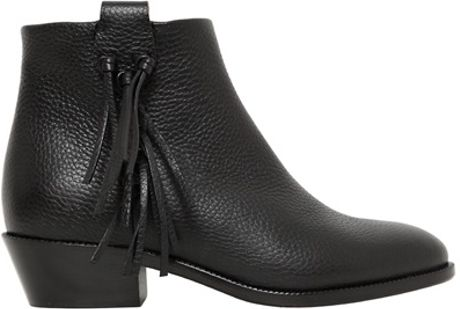Valentino 35mm Tumbled Leather Fringed Boots in Black - Lyst
