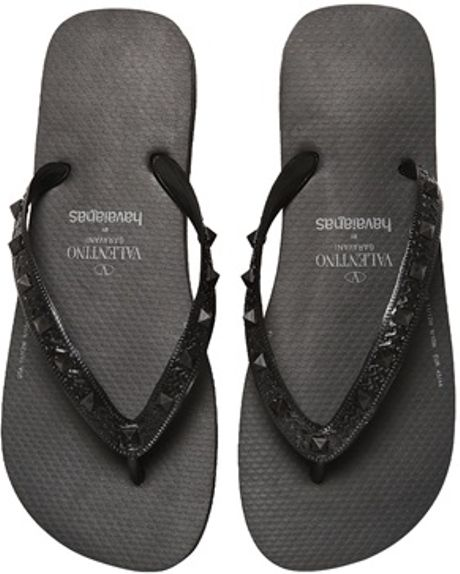 valentino studded rubber flip flops in black for men lyst. Black Bedroom Furniture Sets. Home Design Ideas