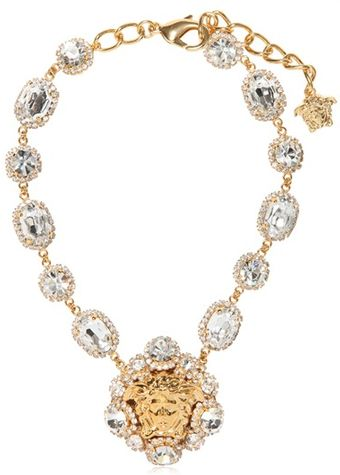 Versace Crystal Gold Plated Necklace - Lyst