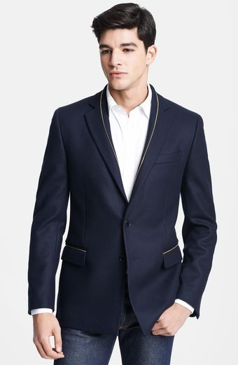 Versace Gold Zip Trim Navy Wool Blazer - Lyst