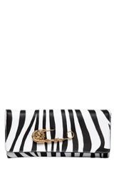 Versus  Safety Pin Saffiano Leather Clutch - Lyst