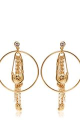 Versus  Safety Pin Hoop Fringe Earrings - Lyst