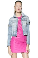 Versus  Pin Embellished Stretch Denim Jacket - Lyst