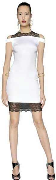 Versus  Lace Stretch Cady Dress - Lyst