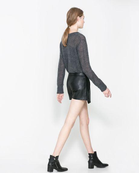 zara faux leather skirt in black lyst