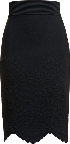Alexander McQueen Embossed Stretch Knit Pencil Skirt - Lyst