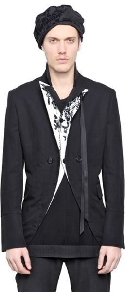 Ann Demeulemeester Printed Cotton Blend Jacket - Lyst