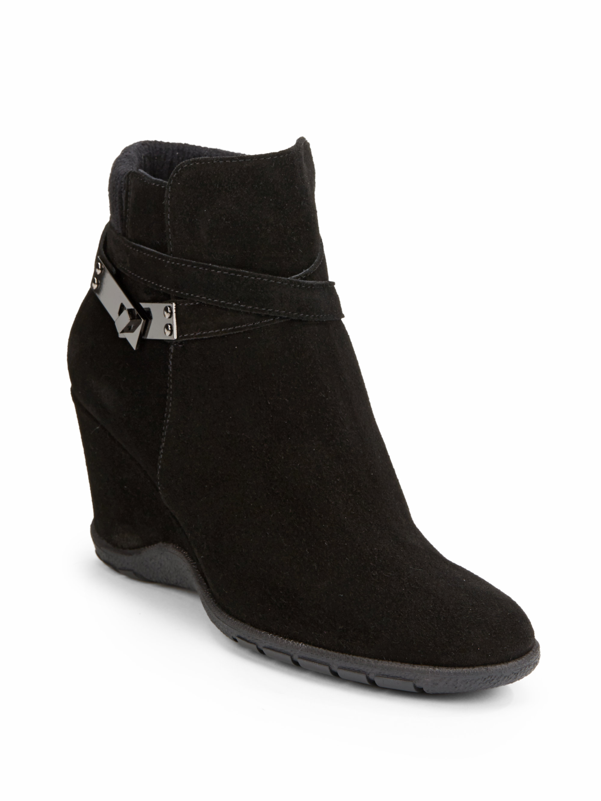 aquatalia by marvin k suede wedge ankle boots in black lyst