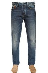 Armani Jeans Leather Detail Stretch Denim Jeans - Lyst