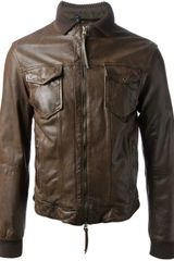 Armani Jeans Leather Jacket - Lyst